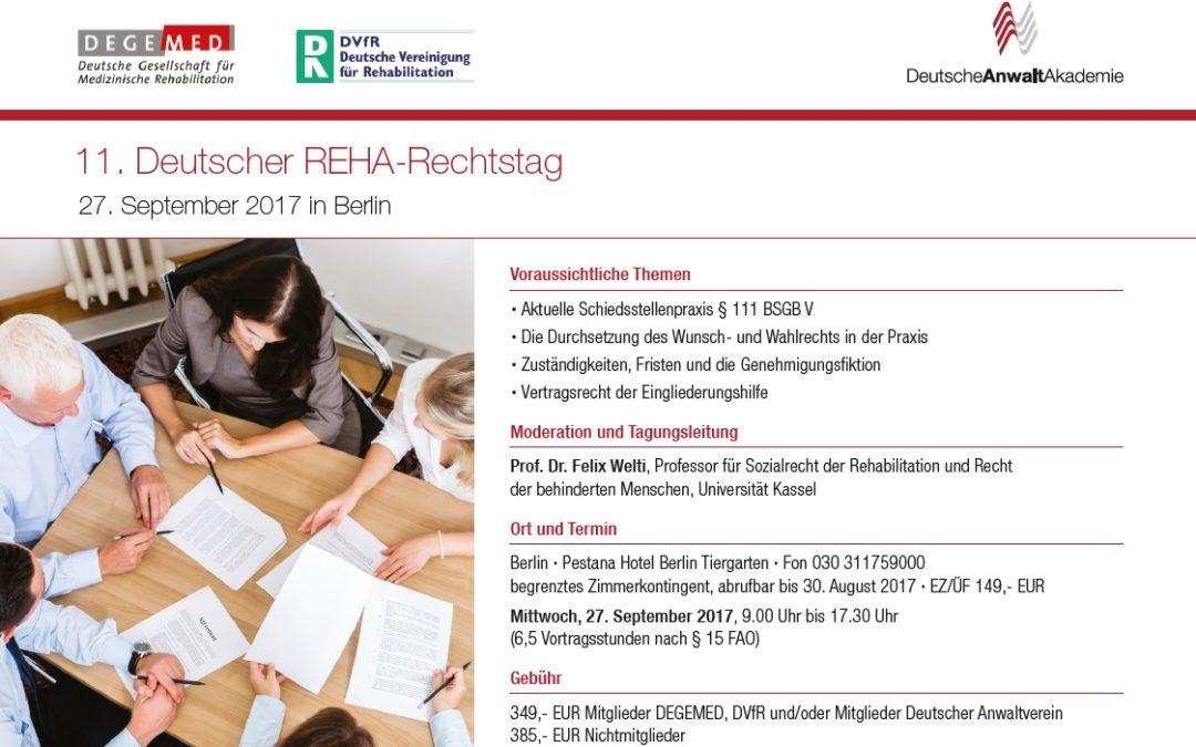 27.09.2017: 11. Deutscher REHA-Rechtstag in Berlin